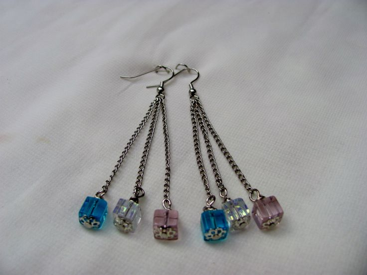 Cubed Glass Beads - Blue/Clear/Pink