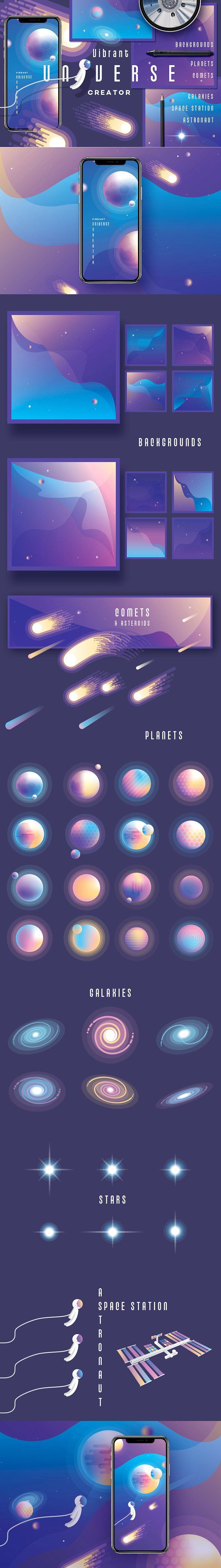 Vibrant Universe Creator by Polar Vectors on @creativemarket