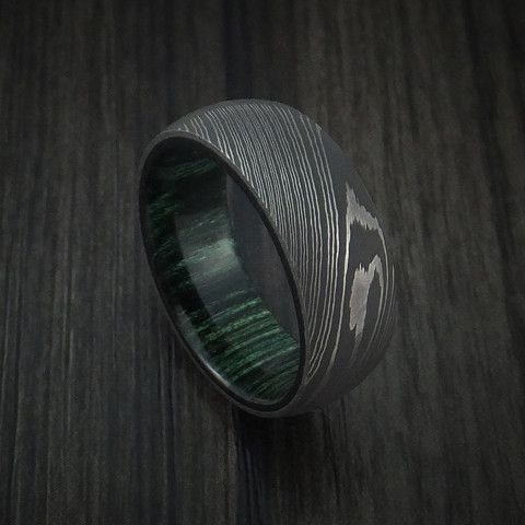 Damascus Steel Ring with French Green Hardwood Interior Sleeve Custom Made