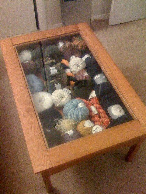 Yarn storageCoffe Tables, Coffee Tables, Crafts Room, Yarns Storage, Crafts Storage, Storage Ideas, The Crafts, Yarns Organic, Yarn Storage