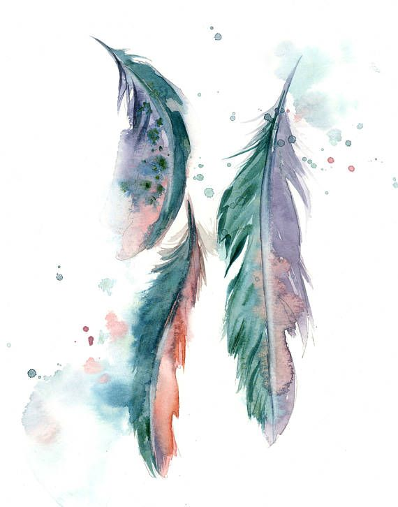 Feathers Fine Art Print Green Pink Purple Loose Style Feathers