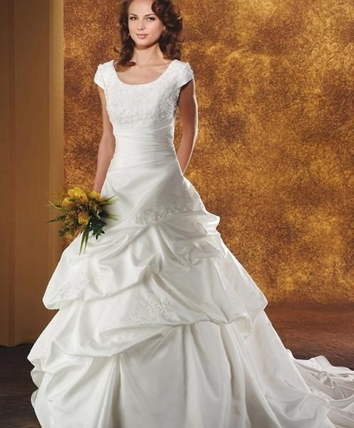 Bridal Gown, Beaded Bodice, Drop Waist, Pick Up Taffeta Skirt, Bow (Front or Back)