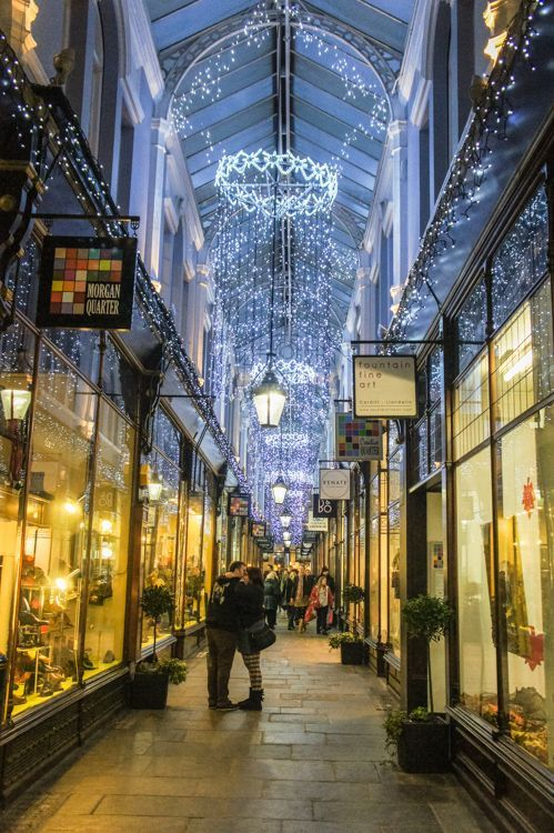 "Morgan Arcade, Cardiff, South Wales, UK - ""Up until the 1790s there were only 25 retail shops in Cardiff, most of them market stalls. The Royal Arcade opened in 1858 and that significantly increased the number of shops in Cardiff."" - Things to do in Cardiff in Winter"