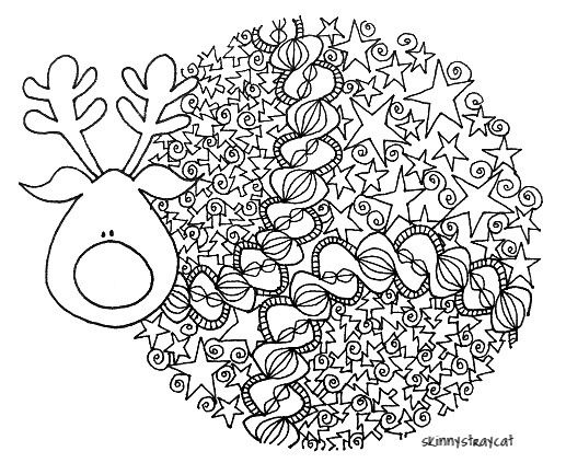 Big Nosed Reindeer (by skinnystraycat) Zentangle  drawings as possibilities for embroidered quilt blocks