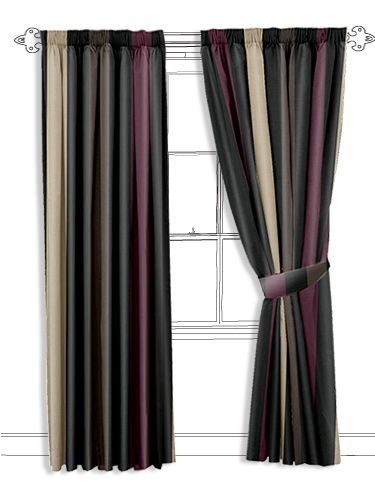 dark and moody coloured stripes here will help create a fabulously atmospheric space. The black stripes are intermingled with stripes in aubergine, dark brown and frosted brown... #striped #curtain