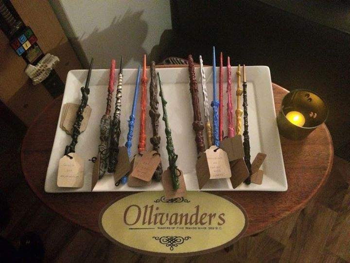 Handmade wands at the Ollivanders stall. Harry Potter hogwarts party