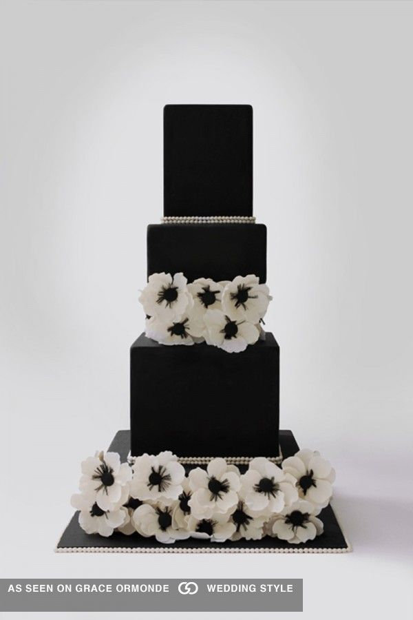 square black and white wedding cakes pictures%0A Black fondant cake with floral tiers