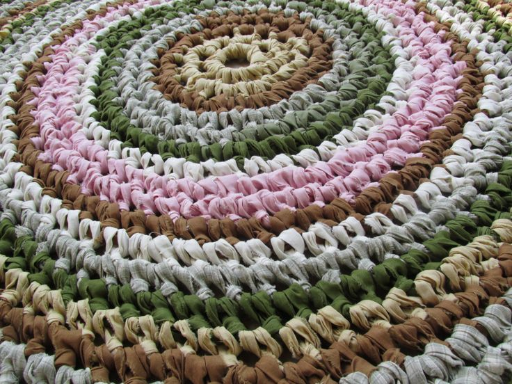 "Villa Rustica Rug 40"" Crochet Rag Rug Round Cotton Washable Soft Handmade Kitchen Porch Country Primitive Homespun Brown Tan Green (85.00 USD) by CedarLaneFarm"