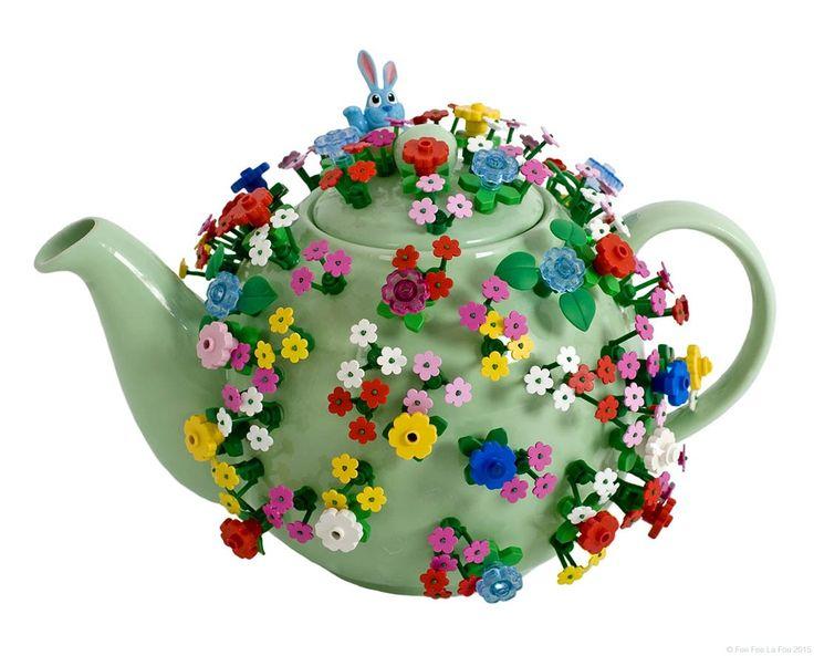 Lego flower covered teapot