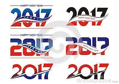 Set Of 2017 Font 2017 Font - Text design Vector illustration. with blue, red and black color