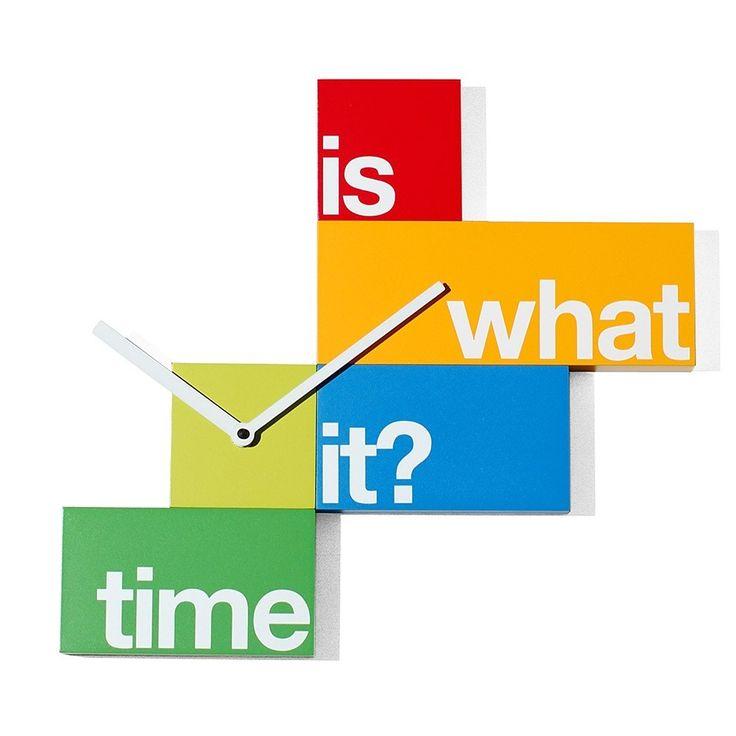 Reloj de pared en madera what time de la marca progetti - Reloj cocina diseno ...