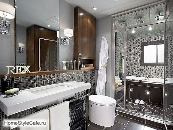 Серая ванная комната, в сером цвете, серых тонах, дизайн, интерьер, плитка, ванна, фото   Все о дизайне и ремонте дома