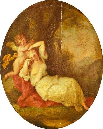 A Nymph and a Cupid  by Angelica Kauffmann(style of)  Date painted: late 18th C
