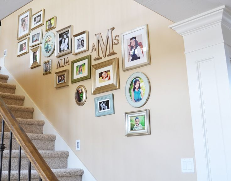 The family room staircase gallery wall home decorating - Stairway photo gallery ideas ...