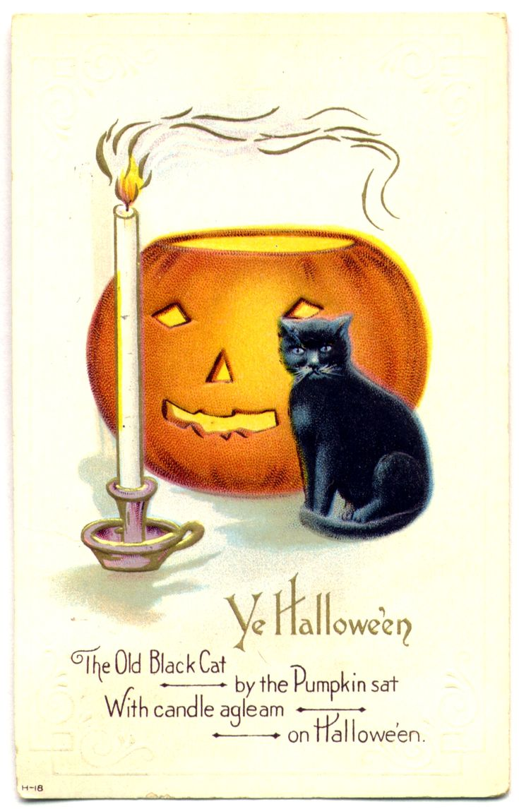 """""""The Old Black Cat by the Pumpkin sat With candle agleam on Halloween."""" Here's one of my favorite postcards from my personal collection to use in your crazy quilting or needlework projects. This is P1233 from our Vintage Postcard CD at https://www.vintagevogue.com/pres156/vintage-postcards/10-vintage-postcard-cd-set-volumes-1-and-2.html"""
