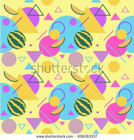 Fruit seamless color summer patterns with watermelons and palms, geometric shapes, fashion vector backgrounds