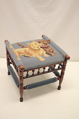 Ornate Victorian Bench Footstool with 2 Full Body Needlepoint Dogs Cover,Rare!