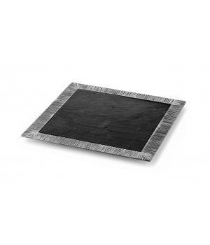 Be the first to review this product Pewter square tray with slate liner cm 33x33  Handcrafted in Italy