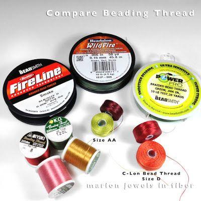 Compare Beading Thread, KO, Miyuki, C-Lon Bead Thread, FireLine, WildFire & PowerPro