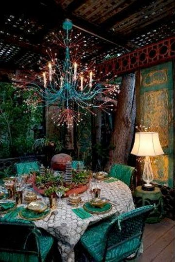 *♥* Boho Decor Bliss bright gypsy color & hippie bohemian mixed pattern home decorating ideas - chandelier from Tony Duquette.