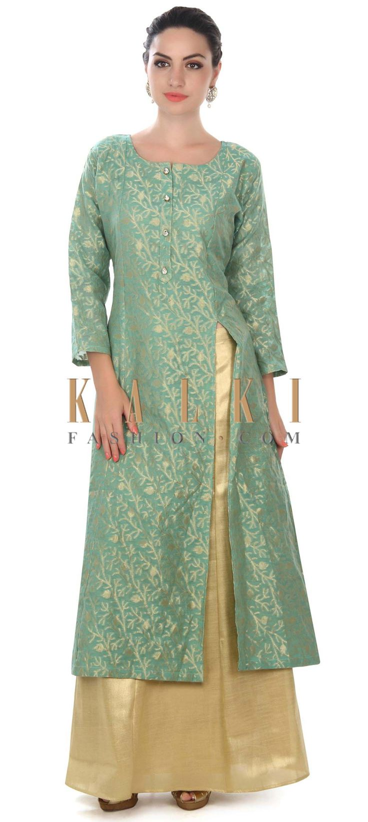 Buy this Mud green A line suit adorn in fancy button only on Kalki