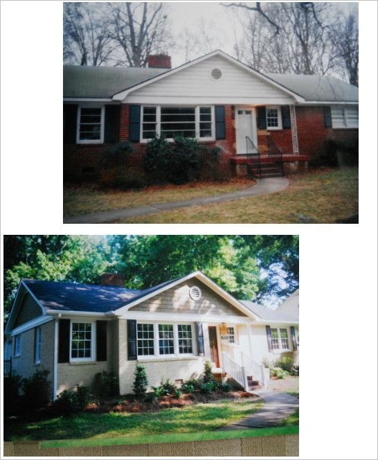 Brick ranch makeover -- painted brick, new windows, porch