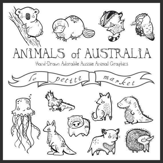 Niedliche Hand illustriert australische Tiere Digital Clipart-Grafiken, Aussie Kreaturen Wombat Platypus Dingo Quallen Koala Echidna Känguru