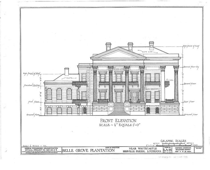 Historic Home Elevation : Belle grove plantation mansion white castle louisiana