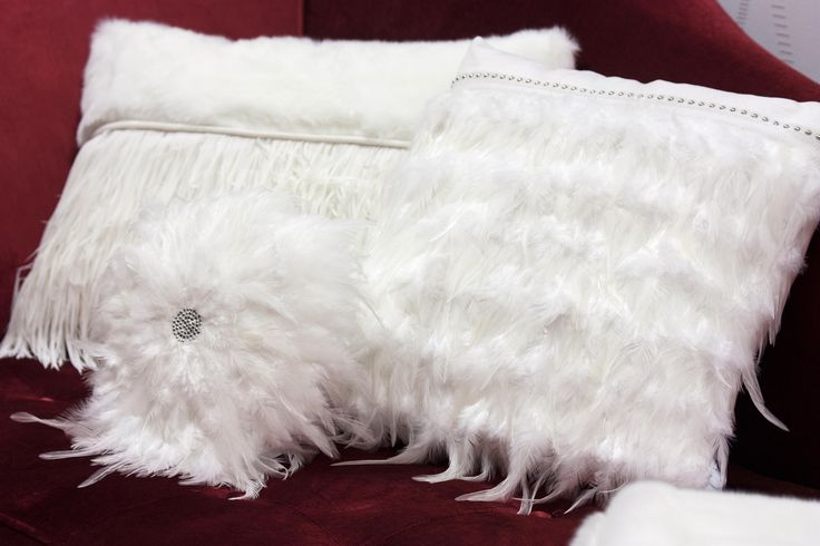 Pillow w/Feathers and Tacks #PureLiving #GreenApple #GAhomestyle #homestyle #white #pillow #swarovsky #feathers