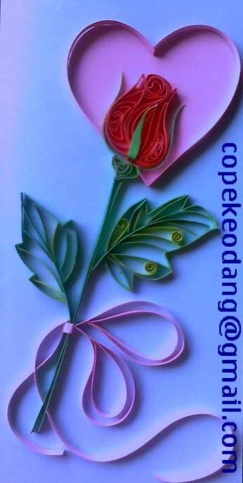 Quilled Rose inside a Heart - by: Lan Quilling