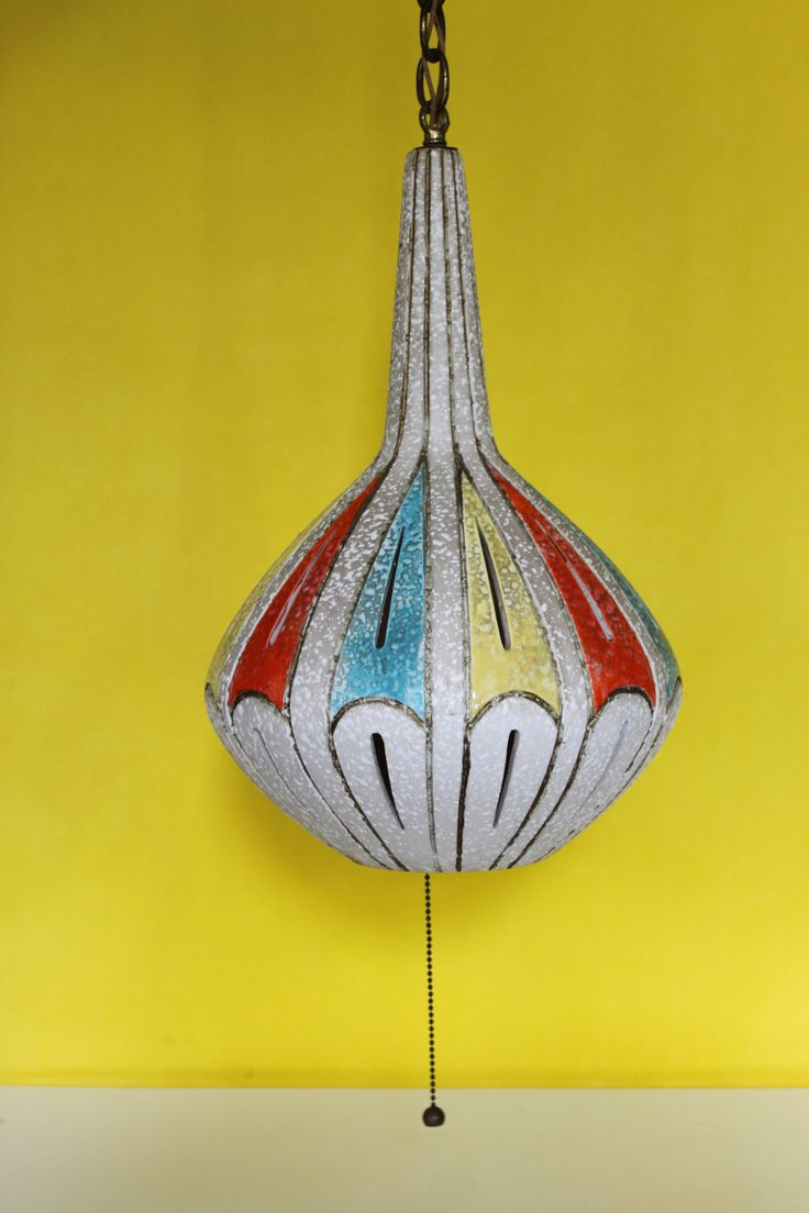 Mid Century Ceramic Pottery Pendant Hanging Lamp with great texture, bright red, blue, yellow colors.