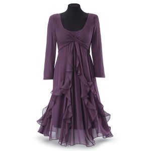 purple crisscross-bodiced dress trimmed with airy ribbons of chiffon that tail gracefully     WANT!!!