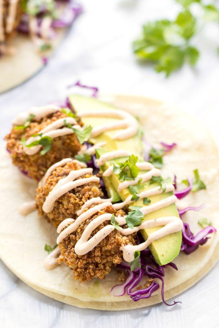Recipe // Avocado + Cabbage + Cilantro + Vegan Lime Crema + Almond Milk + Tofu + Quinoa Crispies + Chickpea Flour + Paprika + Pepper + Salt + Corn Tortillas
