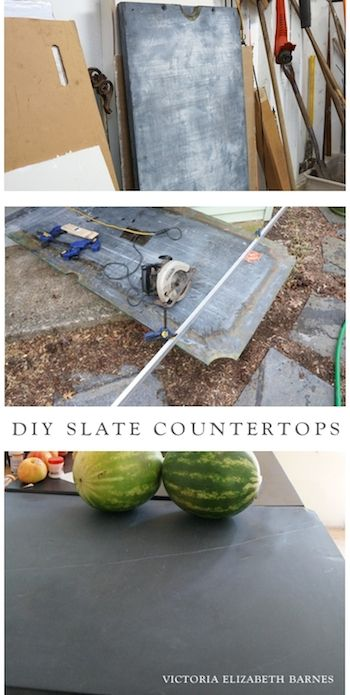 FREE craigslist pool table = FREE slabs of slate = FREE kitchen countertops! We are restoring our old Victorian house, currently DIY-ing the kitchen remodel… we are using almost entirely salvaged and repurposed materials, including turning an antique piano into our kitchen island!