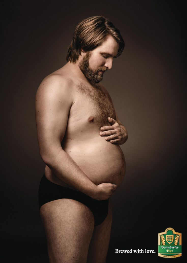 "Hilarious article about men who ""cherish their beer-belly babies"" in these funny German beer ads."