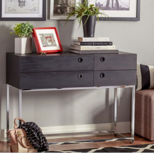 Sturdy Console Table With Two Spacious Drawers Living Room Decor Black Finish
