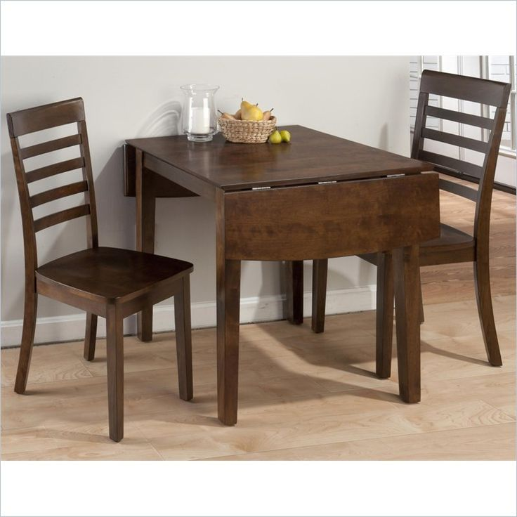 Jofran 3 Piece Drop Leaf Slat Back Dining Set In Taylor Cherry   342 48