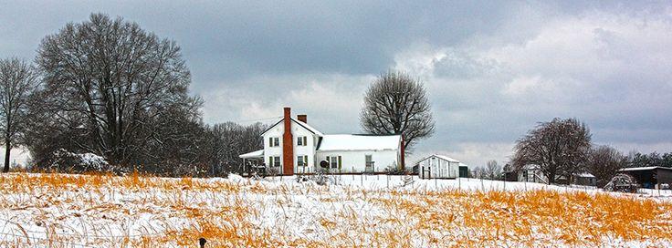 Farm house near Lake Norman after a snowfall.