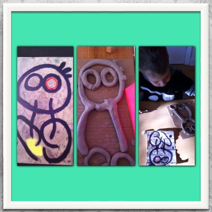 "Using clay to interpret a Joan Miro painting at Acorn School ("",)"