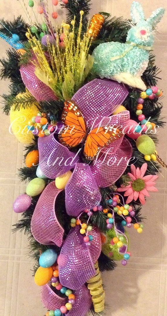 Gorgeous Easter Swag teardrop wreath CustomWreathsAndMore, $95.00