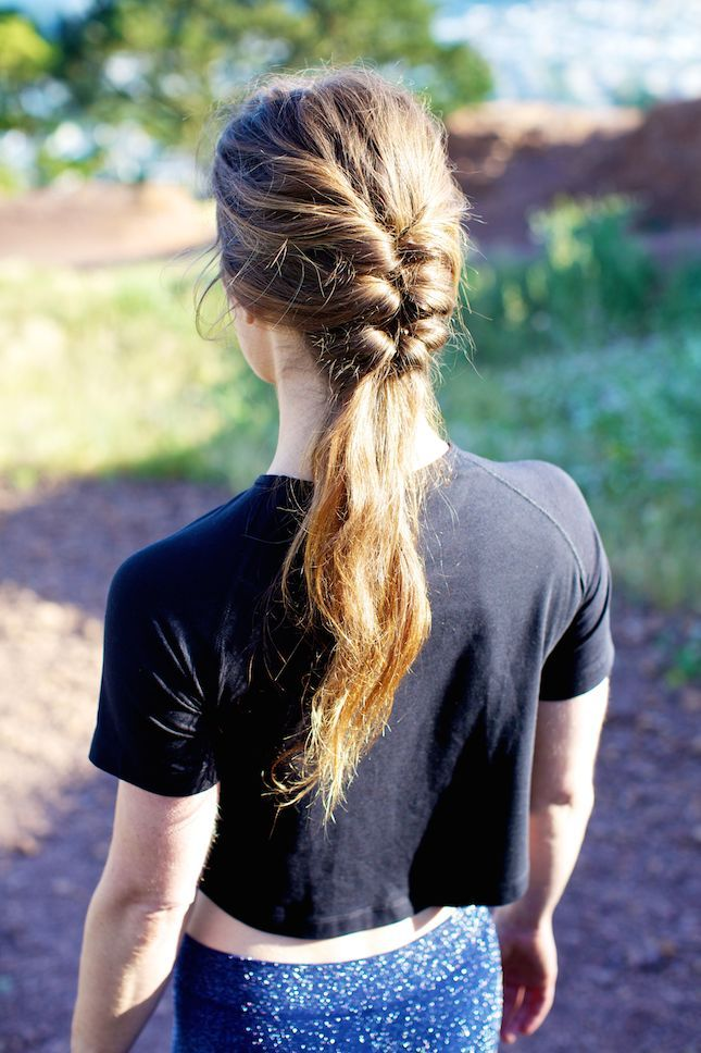Rock this braided pony at your next yoga class.