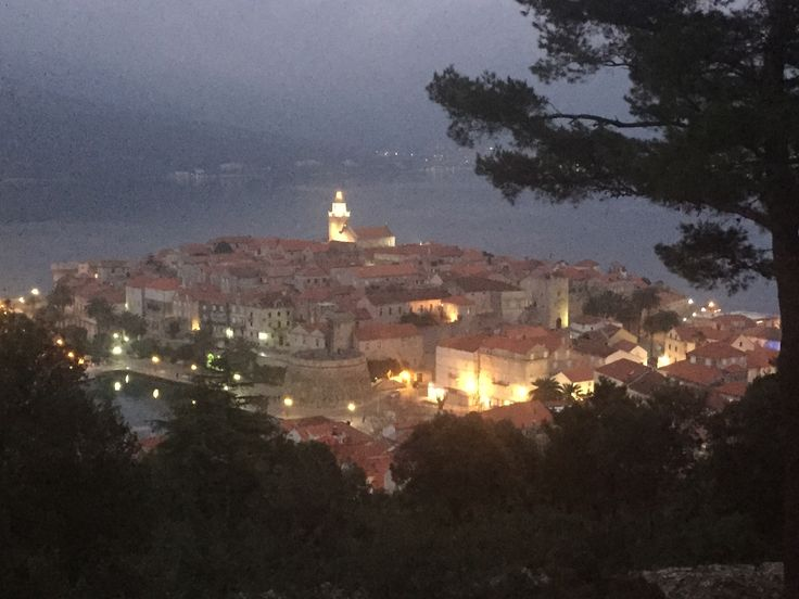 Last evening, view of the town of Korčula on the island of the same name, off the Dalmatian Coast of Croatia. The UNESCO listed town is of remarkable charm. Its architecture dates mostly from the 13th to 17th centuries, when Korčula maintained close connections with Venice.