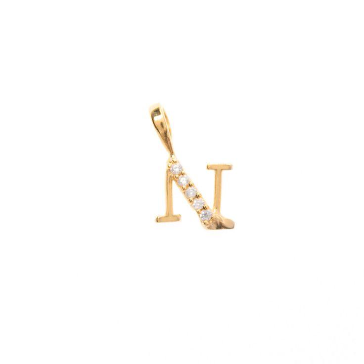 Gold initial 'N' pendant