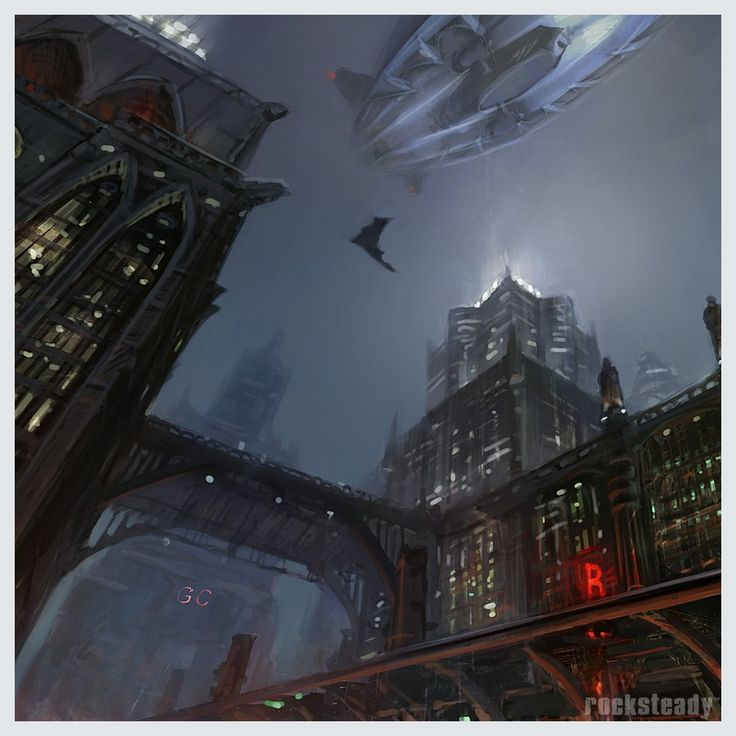 """New (old) concept art of Batman: Arkham Knight  """"Concept showing Batman gliding & the scale of the city in Batman: Arkham Knight. Note the Stagg airship, even at this early stage."""" Rocksteady Studios @RocksteadyGames  Early concepts  https://mobile.twitter.com/RocksteadyGames/status/916294676986126336"""