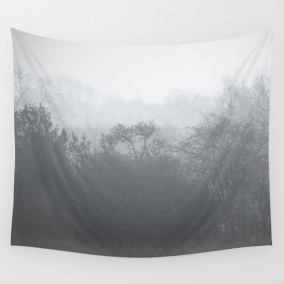 Tree tapestry, grey tapestry, tree art, photo tapestry, large wall hanging, black and white decor, grey decor, oversized art, nature decor by SophieMakesFabrics on Etsy