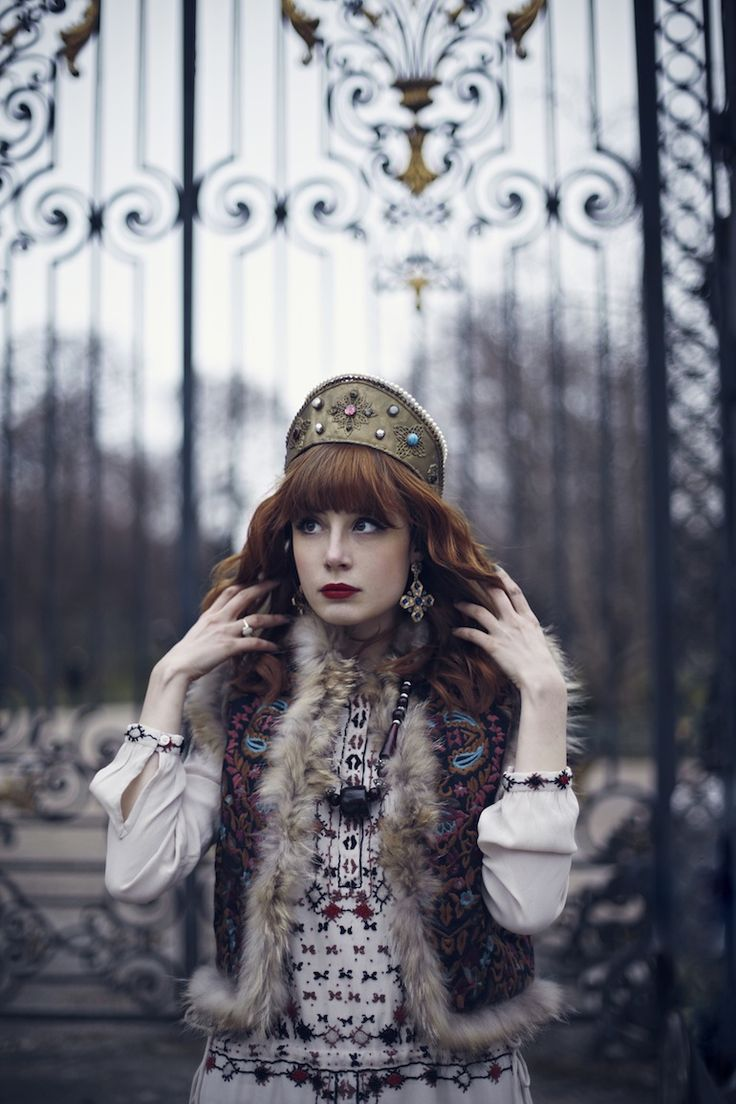 gold crown with vintage outfit