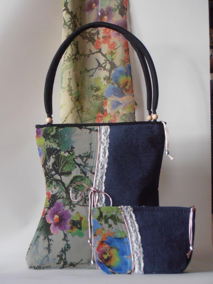 denim bag set with muslin scarf and makeup holder