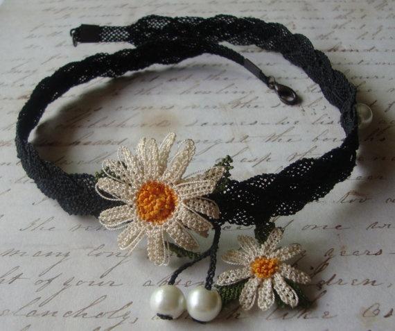 Daisy Needlework Choker Necklace by PaHaRa on Etsy, $45.00