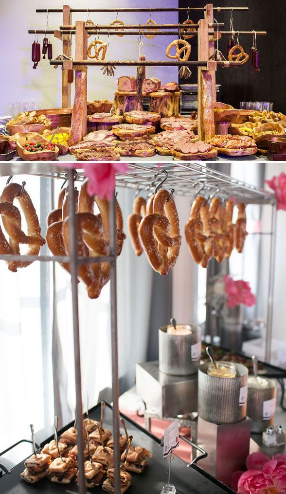 Pretzels aren't just for sports games! Guests will be thrilled to be greeted by a soft pretzel station at your reception. Keep 'em coming back for more with different flavors and dips. Buffet, Wedding Catering, Food Bar, Party Food Ideas