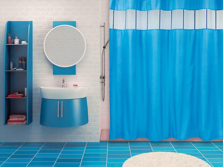 WESS Salsa blue - занавеска для ванной комнаты из ткани 200x200 см. Цена 1250р. Посмотреть на сайте: http://likemyhome.ru/catalog/shtorki-karnizy-kolca/00003772 #likemyhome #showercurtain #bathroomdecor #interiorstyle #wess #salsa